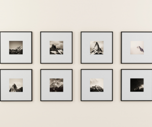 Black and white photos can add flair to your photo wall.